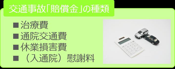 交通事故「賠償金」の種類■治療費■通院交通費■休業損害費■(入通院)慰謝料